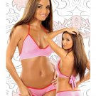 small medium bang brand light pink hot pink booty shorts triangle halter top two piece set