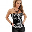 Strapless zebra belted outerwear corset & thong black/white medium
