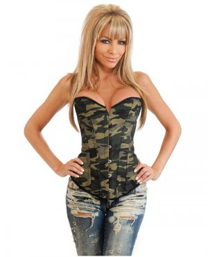 Camo queen burlesque corset w/front busk closure, lace up back & thong camouflage sm