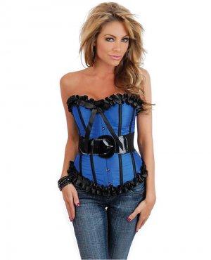 Strapless burlesque belted outerwear corset blue medium