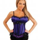 Peasant burlesque corset w/side zipper closure, lace up back, removable straps & thong purple lg