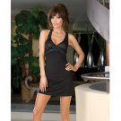 Hanging microfiber dress w/sequin bust, criss cross back & thong black medium