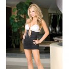 Hanging microfiber shirred front halter dress w/center front rhinestone black/white large