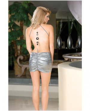 dream girl silver slinky shirred front halter dress w/embellished chain back & thong silver small