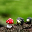 3pcs Set Hedgehog Mushroom,Fairy Garden Animals, Miniature Figurines, Terrarium