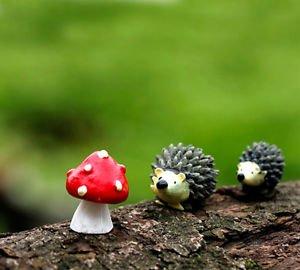 3pcs Set Hedgehog Mushroom,Fairy Garden Animals, Miniature Figurines, Terrarium