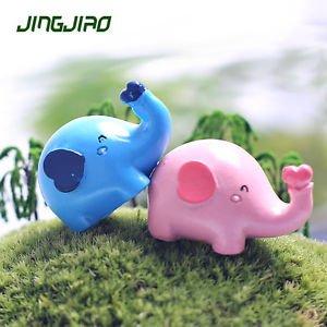 2PCS Pink Blue Elephant Figure Toy Fairy Garden Miniature Succulent Landscape