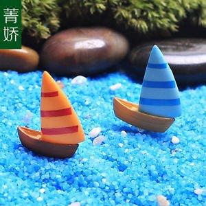 2PCS Sailing Boat Figure Fairy Garden Accessories, Miniature Figurines DIY Plant