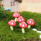 5pcs Red Mushroom Miniature Fairy Garden Accessories,Figurines Terrarium Plants