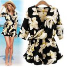 Women Summer Dress Floral Chiffon Short Jumpsuit Romper Playsuit Loose S-5XL