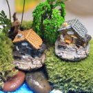2PCS Mini Cottage Old House Figure Fairy Garden  Miniature Terrarium Toy display