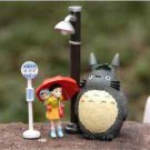 4pc Set My neighbor totoro Cat Girl Lamp Figure Fairy Garden, Miniatures Toys
