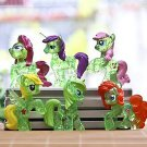 6pcs Transparen Green Horse My Little Pony Mini Figures Toy Collectibles