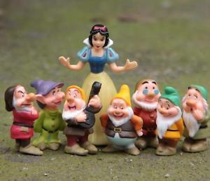 8PC Set Disney snow white 7 Dwarfs Figure Toy Garden Dollhouse Collectibles Deco