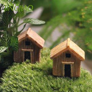 2x Log cabin house Fairy Garden Accessories, Dollhouse Miniature Figurines DIY
