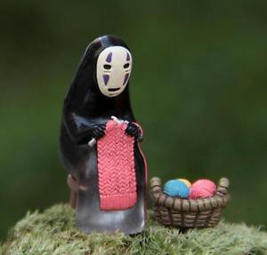 Spirited away No Face Men Figure Knitting Fairy Garden Accessories, Miniature