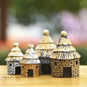 2pc thatched House Cottage Fairy Garden Miniature Dollhouse Moss Figure Decor