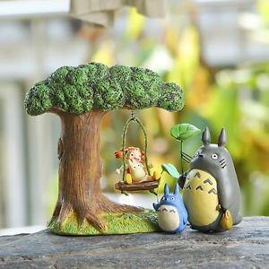4PC Set Totoro Tree May Sisters On the swings Scenario Figure Toy Garden Decor
