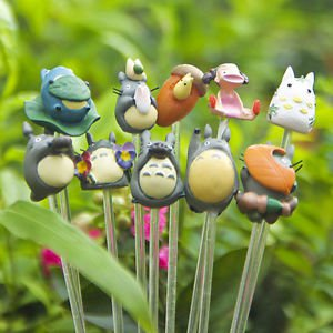 10PC Totoro May Family Figures Mini Toy Terrarium Succulent Figurines w/ Stick