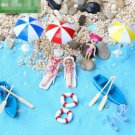 16pc Beach Chair Umbrella Swimsuit Boat Figurine Set Mini Toy Garden Decor