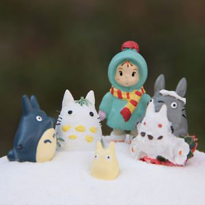 5Pcs Set Winter My neighbor totoro Snow May Figure Fairy Garden Toy Collectible