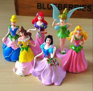6pc Disney Fairies Snow White Cinderella Belle Figurine Toy Collectibles Cake
