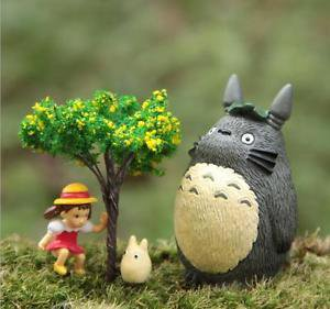 4pc Set Mei Tree Totoro Figurine Figure toy Fairy Garden Succulent Display Decor