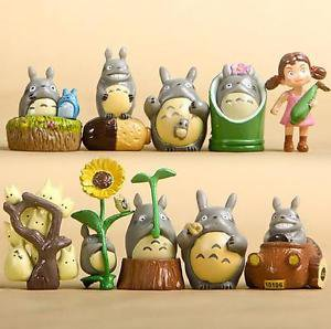 10pc Flower Corn Totoro Set Fairy Garden Figre Toy Home Decor Ornaments Display