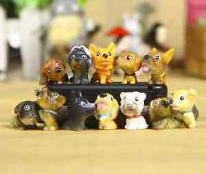 12X Resin Dogs Gardener Figurine Zakka Display Home Decor Fairy Garden Accessori