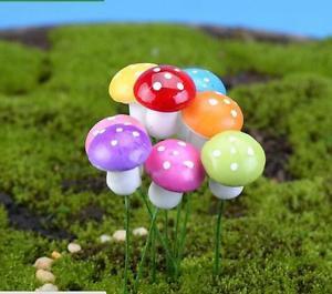 10 Mixed Colorful Mushroom figure fairy garden miniature  Succulent Decoration