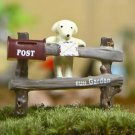 ZAKKA Post Fence Dog  Figurine Fairy Garden Toy Decor For Terrarium Succulent