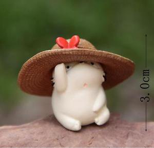 Fat White Totoro W/ Hat Figurine Toy Collectible Fairy Garden Miniature Decor