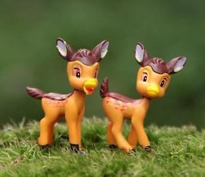 2xZakka Mini fawn Bambi Fairy Garden  Miniature Fairies Plants Decor Figure Toy