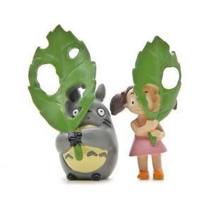2pc Totoro May W/ Hollow Leaves Figure Toy Display Mini Garden Figurine Fairies