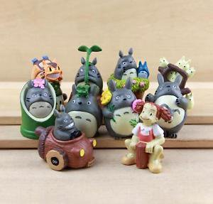 10pc Flower Totoro Bus Mei Figurine Toys Collectibles Fairy Garden Miniature