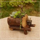 Artificial Wooden Car Succulent Flowerpot Plants Gardening Container Fairy Garde