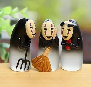 3pc Broom No Face Ghost Miniature Figurine Fairy Garden Toy Miniature Display