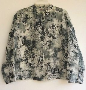 Chico's Womens Sheer Linen Blend Top Black & White Print Size 2 (Misses size 12)