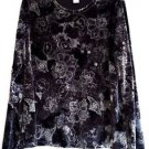 Womens Black Velour Top Size XL Stretch Floral Print Metallic Silver Long Sleeve