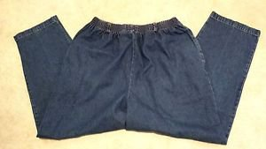 Womens Alfred Dunner 100% Cotton Denim Blue Jean Pants Size 12 W28 L26 1/2