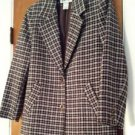 Womens Da-Rue Brown & Blue Check Plaid Blazer Suit Coat Jacket Size 10