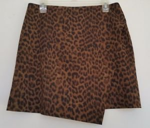 Ann Taylor Womens Short Leopard Print Skirt Size 8 Gold & Brown Lined