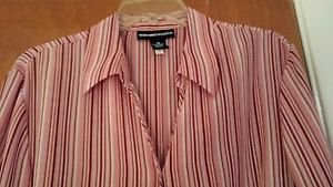 Norton McNaughton Women's Candy Strip Red Holiday Blouse sz 18 EUC French Cuff