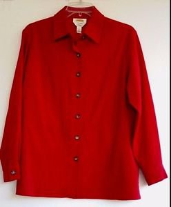 Talbots Petites Womens Red Suede Look Jacket Coat Size Small Button Front