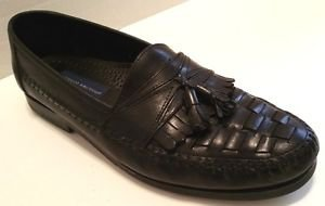 GEORGIO BRUTINI BARTELL BLACK LEATHER TASSEL SLIP ON LOAFERS SIZE 11 1/2 D