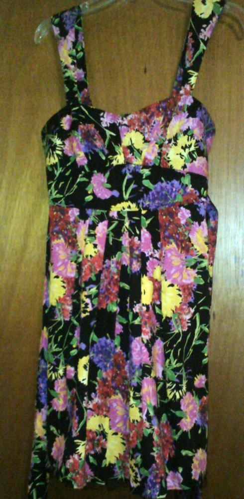 Juniors Sequin Hearts Cotton Blend Floral Lined Black/Pink/Green Sundress size 9