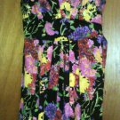 Juniors Sequin Hearts Cotton Blend Floral Lined Black/Pink/Green Sundress size 9