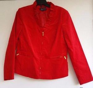 Jones New York Womens Red Velvet Jacket Coat Size 12 Zip Front Ruffle NWT