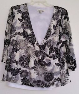 Coldwater Creek Womens Black White Gray Print Blouse Top Size XL Made in USA