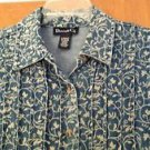 Denim & Co Womens Blue Floral Blue Jean Stretch Denim Jacket Coat Size X-Small